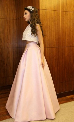 Delicate Beadings Two Piece Prom Dress UK A-line Floor-length_4