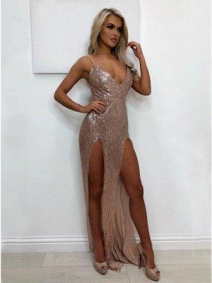 Elegant V-Neck Sequins Prom Dress UK   Long Evening Party Gowns With Split BA9873_1