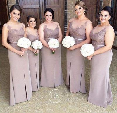 Sexy Illusion Appliques Bridesmaid Dress UK With Front Split_2