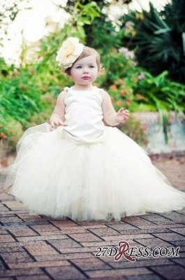 Sleeveless Scoop Tull Flower-Girl-Dresses Ball-Gown Pearls Pageant-Dress_1