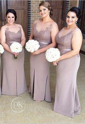 Sexy Illusion Appliques Bridesmaid Dress UK With Front Split_1