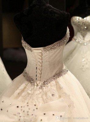 Luxurious Sweetheart Ball Gown Wedding Dress Crystal Beadss Long Train_6