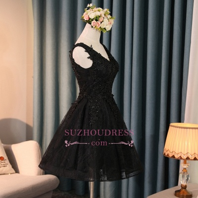 Black A-Line Short Prom Dress UK | Homecoming Dress UK With Lace Appliques_1