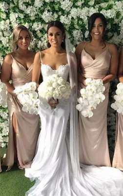 Sexy Spaghetti-Strap V-Neck Long Bridesmaid Dress UK On Sale With Slit_2