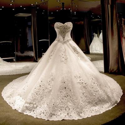 Luxurious Sweetheart Ball Gown Wedding Dress Crystal Beadss Long Train_4