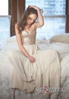 Sleeveless Simple A-Line Sequins Spaghetti-Straps Prom Dress UKes UK_2