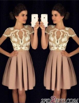Newest Short-Sleeves Short Appliques A-Line Beadings Homecoming Dress UKes UK_4