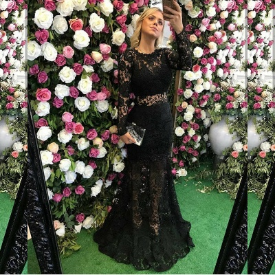 Elegant Black Long Sleeve Lace Prom Dress UK Sheer Party Gowns On Sale_3