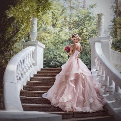 Luxurious Sweetheart Pink Wedding Dress Tulle Ruffles_4