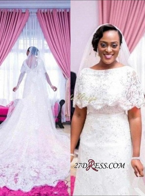 White A-line Delicate Lace Wrap Sweep-Train Wedding Dress_2