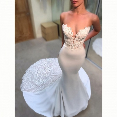 Simple Appliques Sexy Mermaid Wedding Dresses UK Sleeveless Long Court Train Bridal Gowns_3
