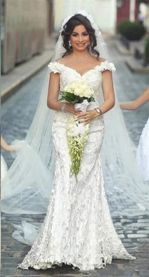 Gorgeous Off-the-Shoulder Wedding Dress Lace Appliques Sexy Mermaid Floor Length_2