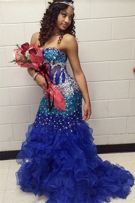 Modern Strapless Royal Blue Prom Dress UKes UK Crystal Organza Mermaid Party Gowns BK0_1