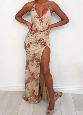 Elegant V-Neck Sequins Prom Dress UK | Halter Evening Party Gowns With Slit_1