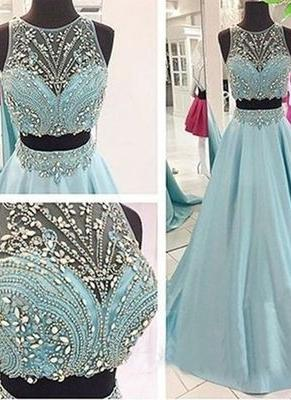 Two-Piece Crystals Sexy Long Beaded Blue Prom Dress UKes UK_2