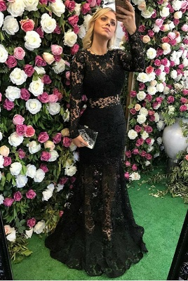 Elegant Black Long Sleeve Lace Prom Dress UK Sheer Party Gowns On Sale_1