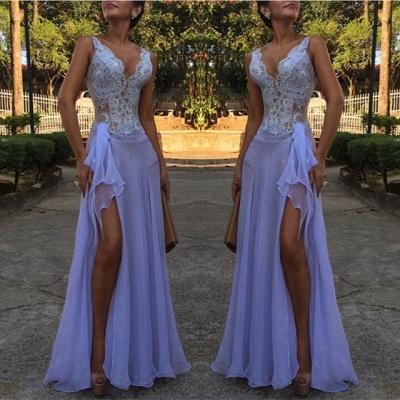 V-Neck Lace Evening Dress UK | 2019 Mermaid Prom Dress UK With Slit BA9608_3