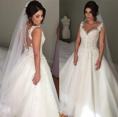 Elegant Tulle Lace Appliques Wedding Dress Button Zipper Back_3