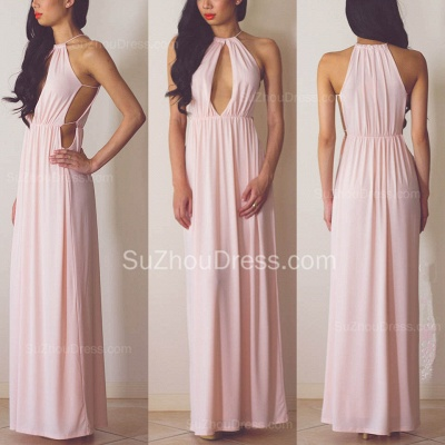 High Quality Halter A-line Evening Dress UK Sleeveless Floor-length_2