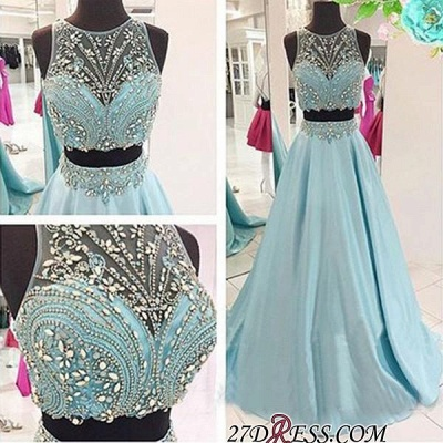 Two-Piece Crystals Sexy Long Beaded Blue Prom Dress UKes UK_1