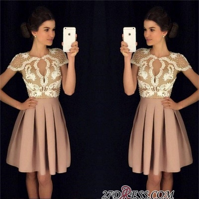 Newest Short-Sleeves Short Appliques A-Line Beadings Homecoming Dress UKes UK_3