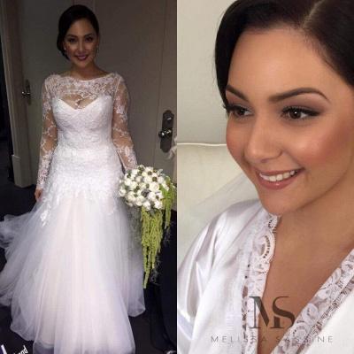 Delicate Illusion Lace Appliques Tulle Wedding Dress Court Train_1