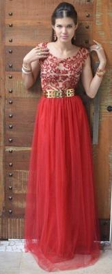 Evening Elegant Red Prom Dress UKes UK New Fashion Dress UKes UK Cap Sleeves Vestidos Female Formal Tulle Bead Dress UKes UK_3