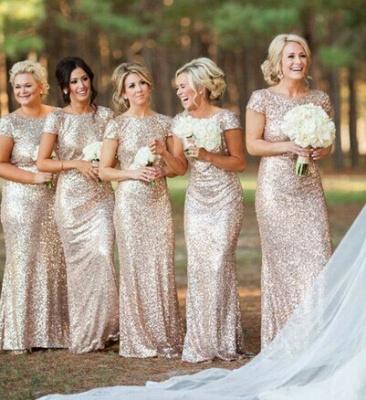 Elegant Bateau Cap Sleeve Bridesmaid Dress With Sequins_1