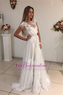 Sweep-Train Short-Sleeves A-Line Newest Appliques Tulle Prom Dress UK qq0283_1