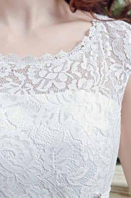 Elegant Illusion Lace Beadss Wedding Dress Cap Sleeve Zipper_4