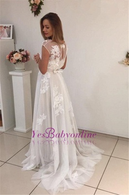 Sweep-Train Short-Sleeves A-Line Newest Appliques Tulle Prom Dress UK qq0283_3