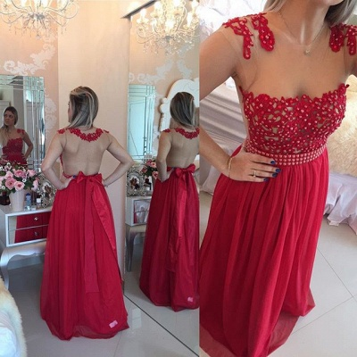 Gorgeous Chiffon Long Prom Dress UK With Pearls And Lace BT0_6