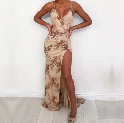 Elegant V-Neck Sequins Prom Dress UK | Halter Evening Party Gowns With Slit_3