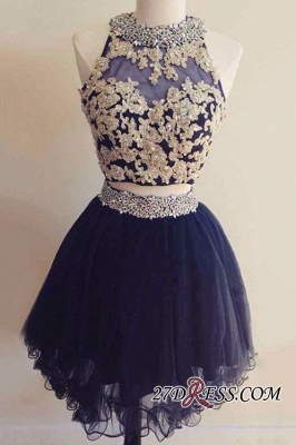 Navy Two-Pieces Beaded Sexy Short Blue Homecoming Dress UKes UK_3