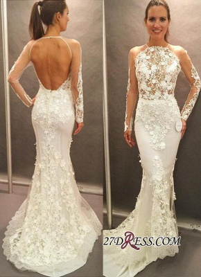 Elegant Open-Back Appliques Lace Sexy Mermaid Long-Sleeve Wedding Dress_2
