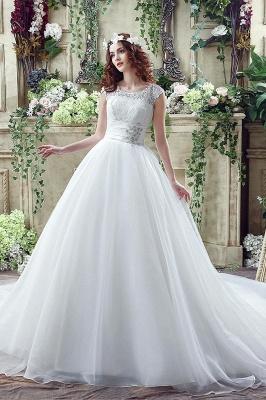Elegant Illusion Lace Beadss Wedding Dress Cap Sleeve Zipper_1