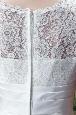 Elegant Illusion Lace Beadss Wedding Dress Cap Sleeve Zipper_5