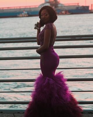 Cap-Sleeve Mermaid Prom Dress UK | Lace Ruffles Evening Gowns BA8904_4