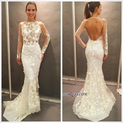Elegant Open-Back Appliques Lace Sexy Mermaid Long-Sleeve Wedding Dress_1