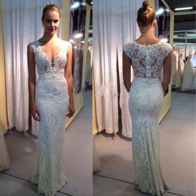 Elegant Lace Sleeveless Wedding Dress Zipper Back Floor Length_2