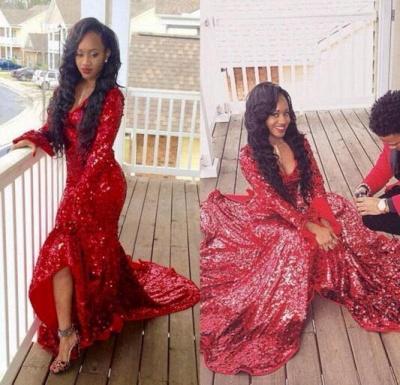 Hi-Lo Red Mermaid Luxury Sweep-Train Long-Sleeve Sequined Prom Dress UK_1