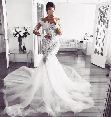 Elegant Long Sleeve Wedding Dress | 2019 Lace Sexy Mermaid Bridal Gowns_3