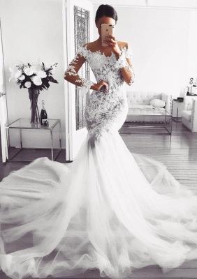 Elegant Long Sleeve Wedding Dress | 2019 Lace Sexy Mermaid Bridal Gowns_1