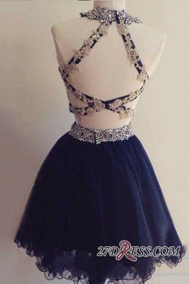 Navy Two-Pieces Beaded Sexy Short Blue Homecoming Dress UKes UK_2