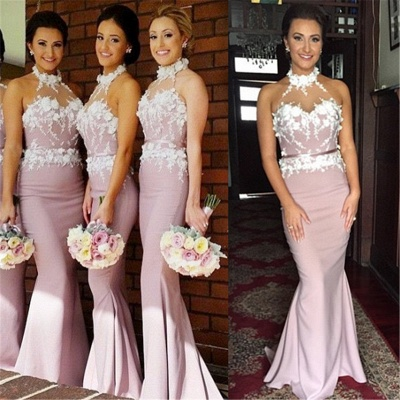 Newest Halter Sleeveless Mermaid Bridesmaid Dress UK Lace Appliques_4