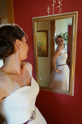 Newest Tulle White A-line Wedding Dress Straps Beads Floor-length_5
