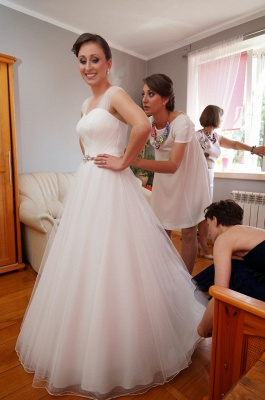 Newest Tulle White A-line Wedding Dress Straps Beads Floor-length_3