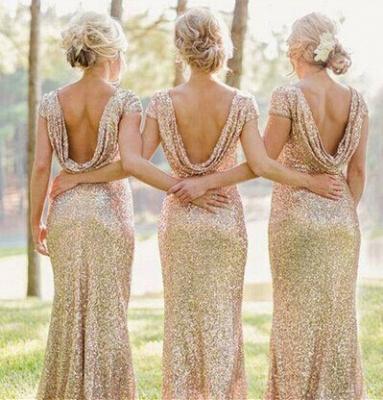 Elegant Bateau Cap Sleeve Bridesmaid Dress With Sequins_2