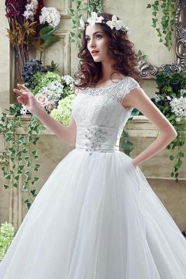 Elegant Illusion Lace Beadss Wedding Dress Cap Sleeve Zipper_6