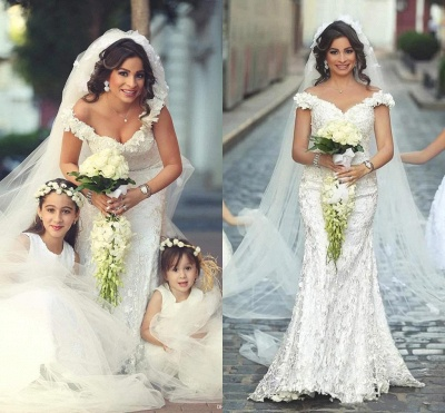 Gorgeous Off-the-Shoulder Wedding Dress Lace Appliques Sexy Mermaid Floor Length_3